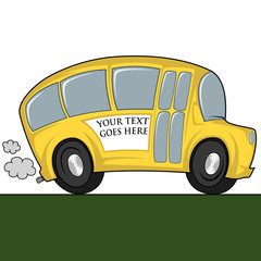 Funny illustration of a (school) bus - you can place any text on