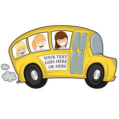 Funny illustration of a (school) bus with children (girls) - you can place any text on