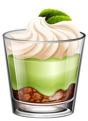 Green tea dessert in glass