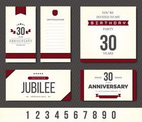 Anniversary 5th, 10th, 20th, 30th, 40th, 50th, 60th invitation card. Vector illustration.