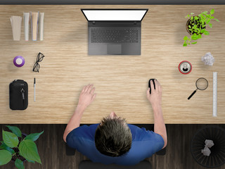 Guy working. Creative desk mock up scene with devices from top.