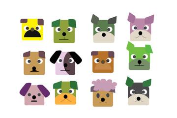 dogs and head dogs cartooon