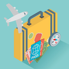 isometric travel with airplane illustration design concept