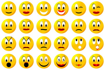 Yellow smiley set or collection