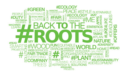 Back to the roots green words tag cloud text sustainability ecology sign