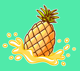 Vector illustration of colorful yellow pineapple with splash on