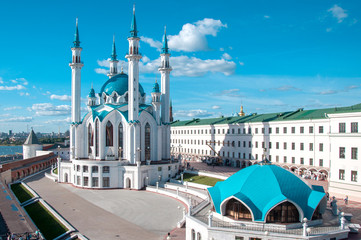 KAZAN, RUSSIA - AUGUST 20, 2015: Kul Sharif (Kol Sharif, Qol Sharif) Mosque in Kazan Kremlin. Main Jama Masjid in Kazan and Republic of Tatarstan. UNESCO World Heritage Site. Kazan, Tatarstan, Russia.