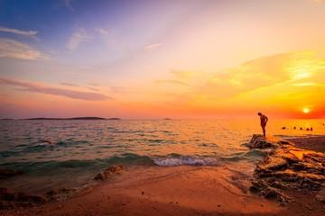 sunset over Croatia and the Adriatic Mediterranean sea