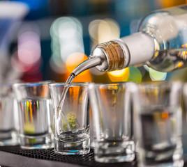 Hard spirit on bar counter