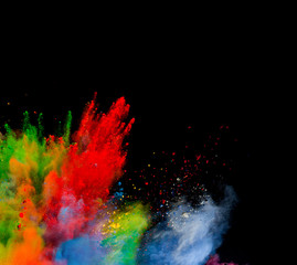 Colored powder on black background