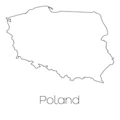 Country Shape isolated on background of the country of Poland