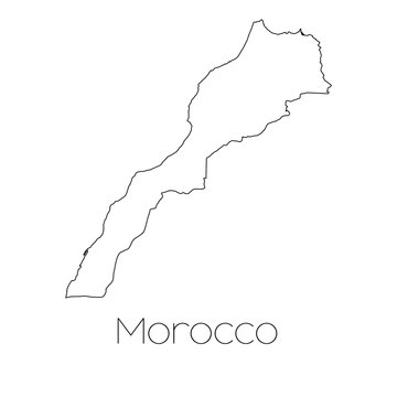 Country Shape isolated on background of the country of Morocco