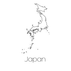 Country Shape isolated on background of the country of Japan