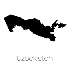 Country Shape isolated on background of the country of Uzbekista