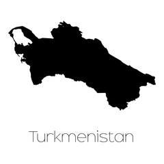Country Shape isolated on background of the country of Turkmenis