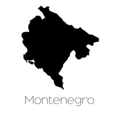 Country Shape isolated on background of the country of Montenegr