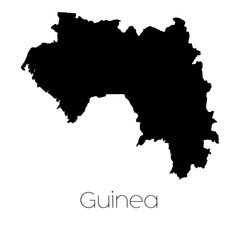 Country Shape isolated on background of the country of Guinea