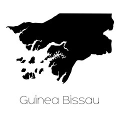 Country Shape isolated on background of the country of Guinea Bi