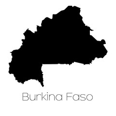Country Shape isolated on background of the country of Burkina F