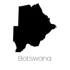 Country Shape isolated on background of the country of Botswana