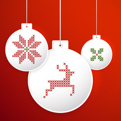 Vector Christmas balls with embroidery cross-stitch style