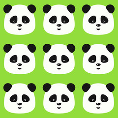 Vector seamless flat pattern with funny pandas