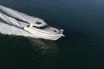 Elegant yacht sailing through the sea