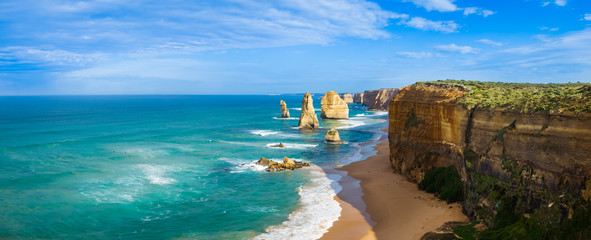 Panorama of the landmark Twelve Apostles along the famous Great Ocean Road, Victoria, Australia