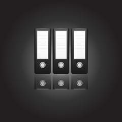 Binder, high detail black office folders on a black background