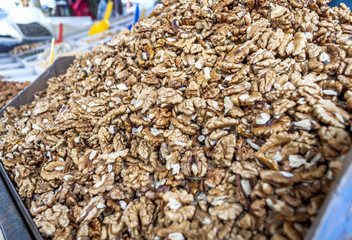 Dried walnuts in market, addition to the dishes and cakes