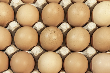 Eggs in carton package ready for backeying close up