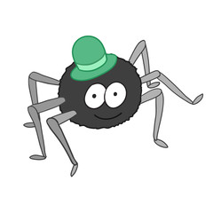Cartoon cute spider in hat isolated on white background.