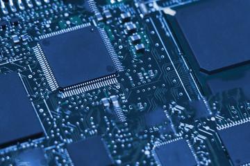 Technology modern backgorund electronic macro photo close-up.