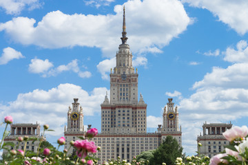 Moscow State University in flowers