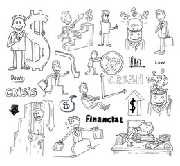 Money and Businessman icons set, hand drawn.