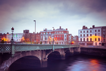 Landmark Grattan Bridge over the River Liffey in Dublin Ireland