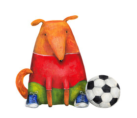 Dog in sneakers with football ball. Illustration