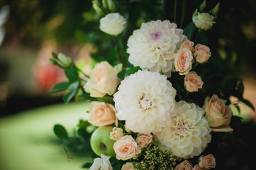 Beautiful flower wedding decoration in white and pink