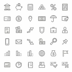Icons, Bank, Finance, contour, line, monochrome, white background.
