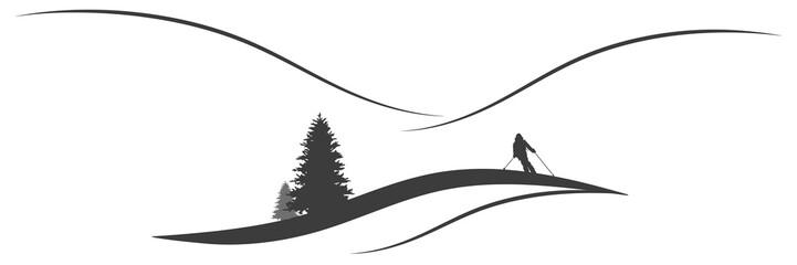 Panorama Berglandschaft mit Skifahrer im Winter