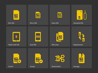 Set of SIM cards different sizes icons.