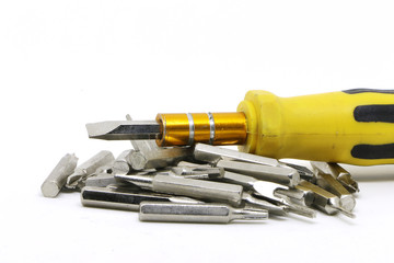 yellow screwdriver with isolate background