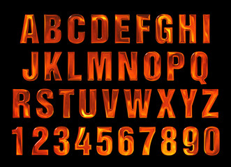 fire text. Alphabet of fire. red-hot metal text