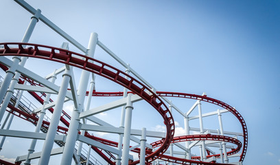 Rollercoaster track with blue sky
