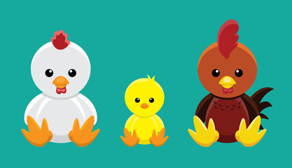 Chicken Family Doll Set Cartoon Vector Illustration