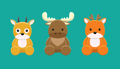 Reindeer Moose Gazelle Doll Set Cartoon Vector Illustration