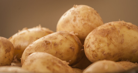 Fresh organic potatoes close up