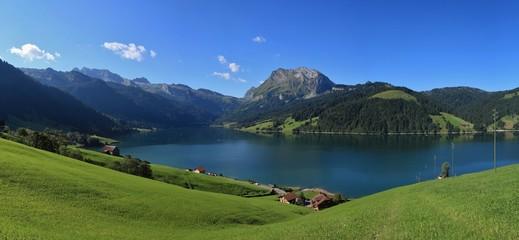 Blue lake Waegitalersee and mountains