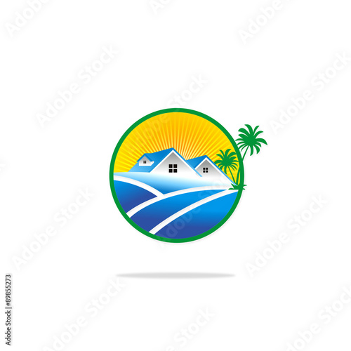 House Cottage Summer Tropic Palm Tree Logo