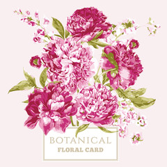 Vintage Floral Greeting Card with Blooming Peonies
